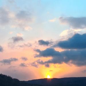 Západ slunce, pohled zjídelny